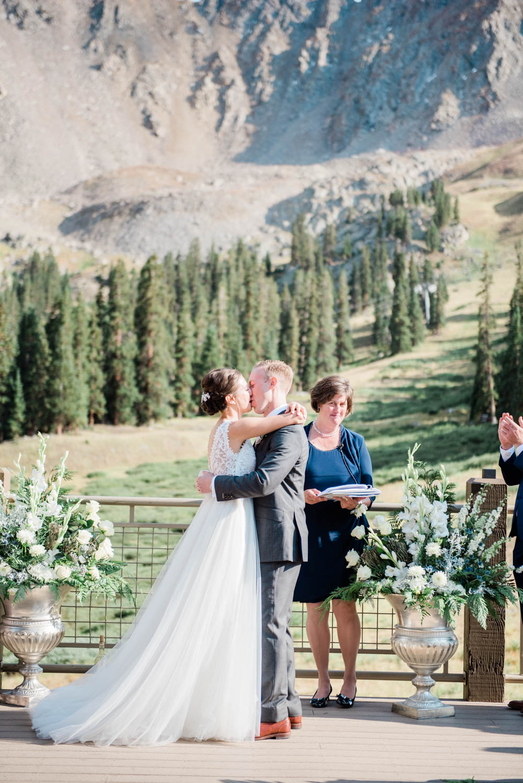 Arapahoe Basin Wedding Ceremony First Kiss