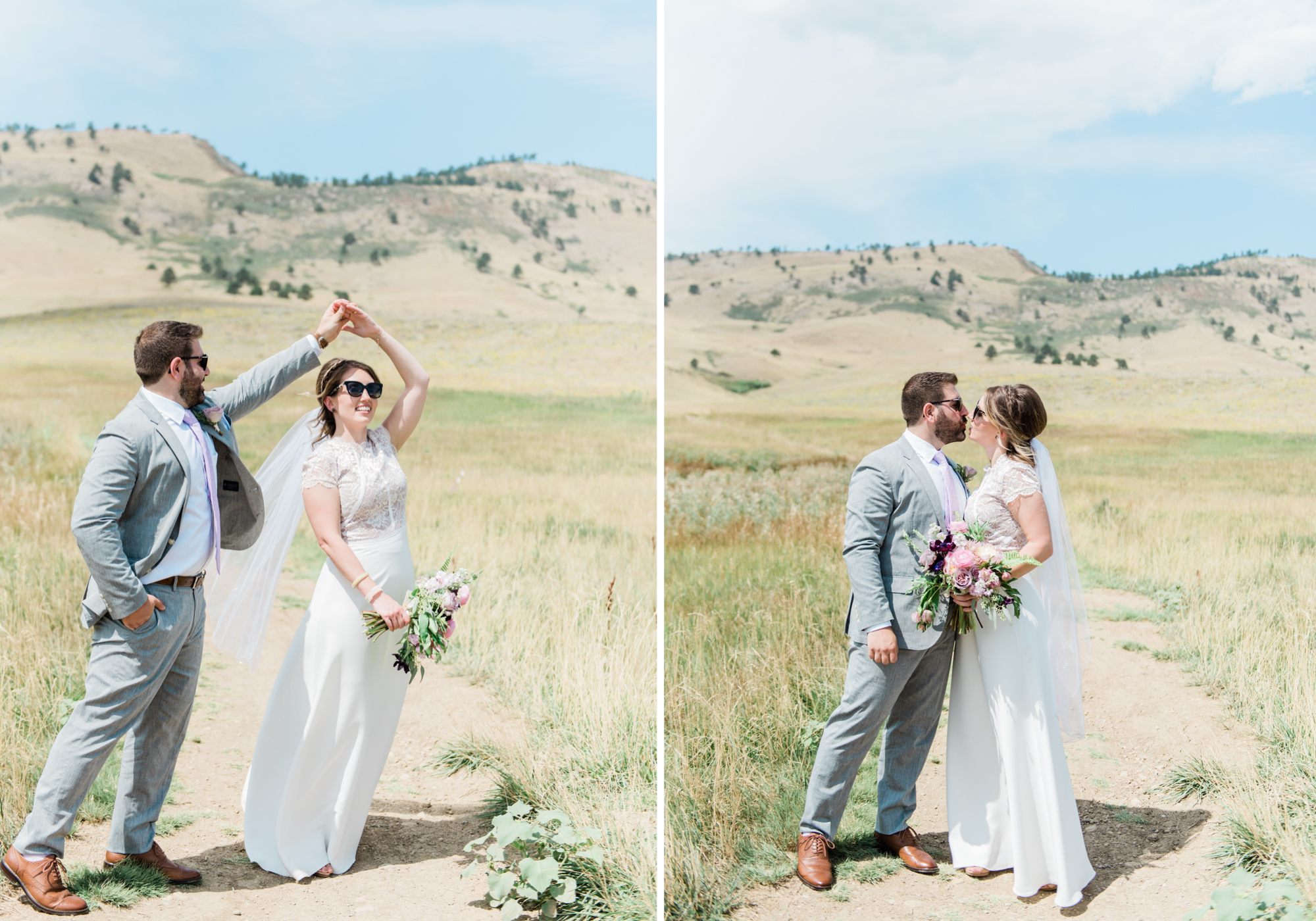 Bride and Groom twirl in the boulder foothills