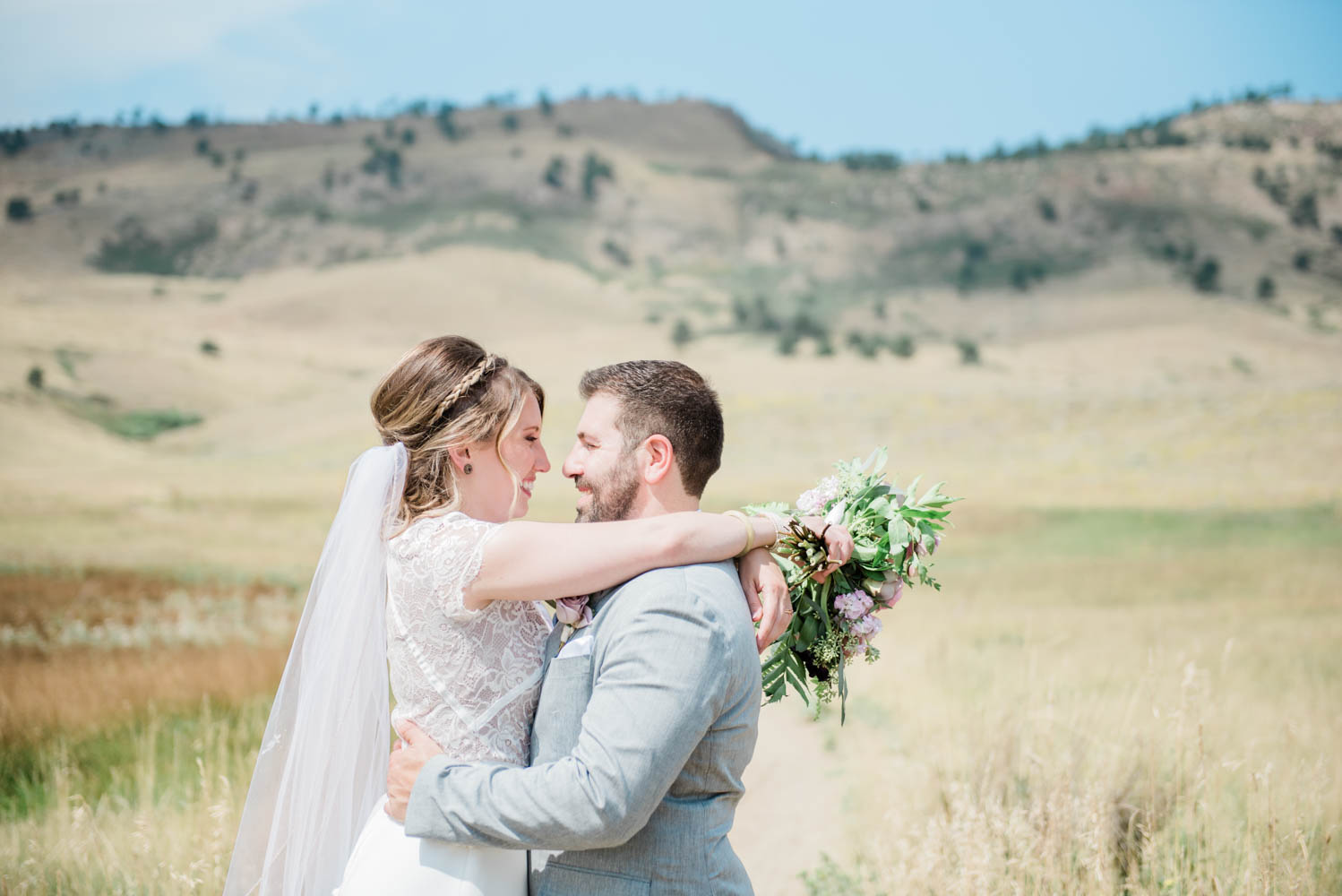 Bride and Groom Portraits in the Boulder Foothills