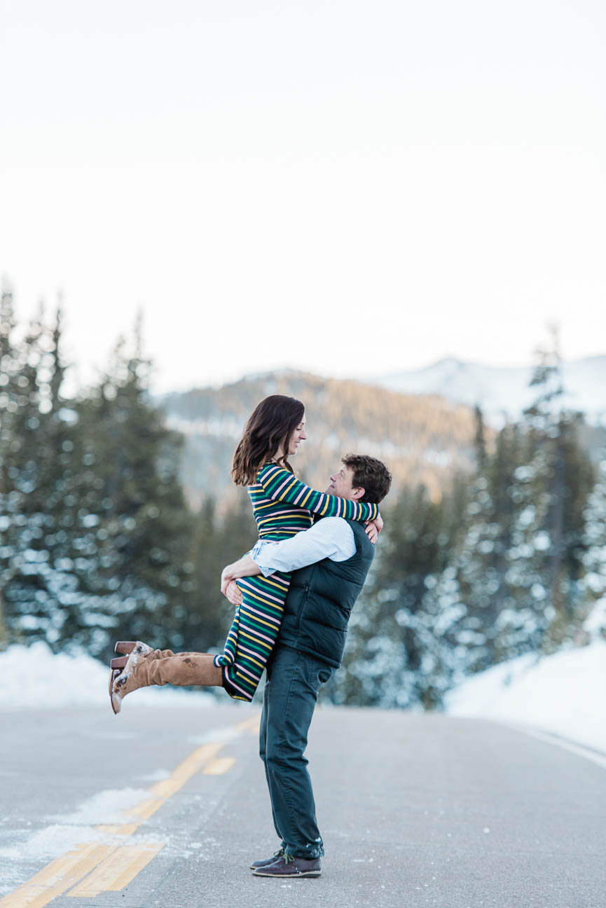 Wintery Eco Lake Engagement Photography Session in Evergreen Colorado