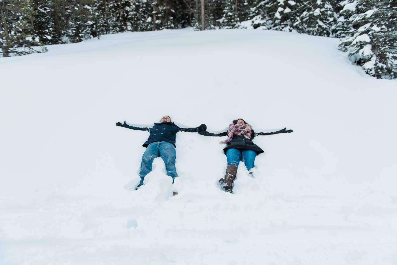 Winter Snowshoe Sunrise Engagement Photography Session in Breckenridge Colorado