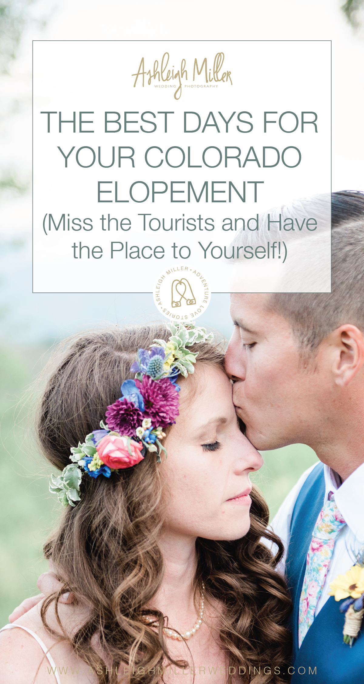 The Best Days for your Colorado Elopement   (Miss the Tourists and Have the Place to Yourself!)  So you've been dreaming of your Colorado Mountain Top elopement forever!  What you didn't dream of was your Mountain Top elopement with the whole bunch of tourists staring at you while your getting married. The whole point of you getting married in the mountains was to have an intimate ceremony without any other distractions!