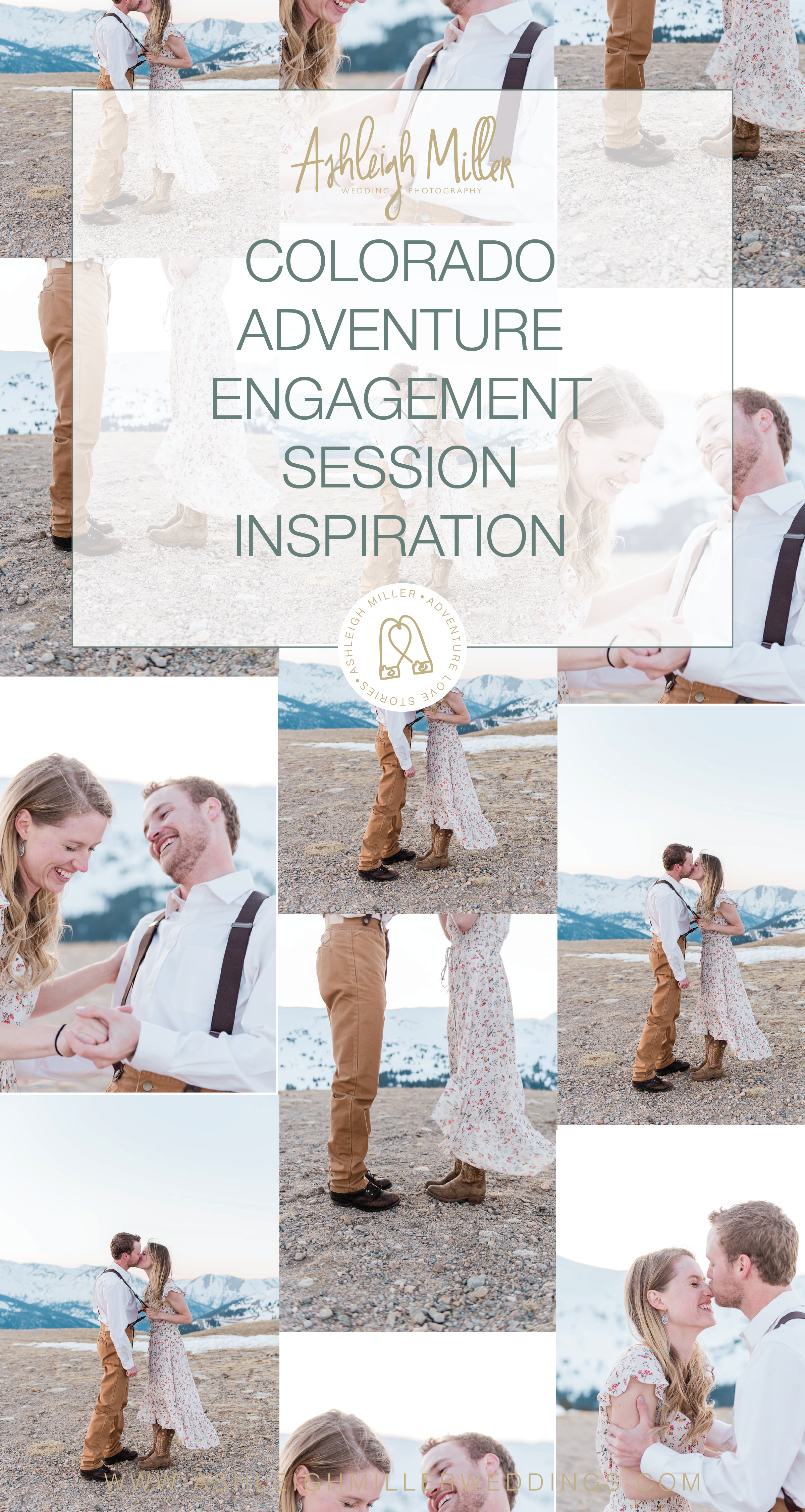 Colorado adventure engagement sessions inspiration on a mountaintop. This Loveland Engagment Session was perfect with dresses, suspenders, alpine glow, forests, rivers and love. Ashleigh Miller Wedding and Elopement Photographer serving Denver, Breckenridge, Summit, Dillion, Silverthorn, Telluride, Ouray and Boulder.