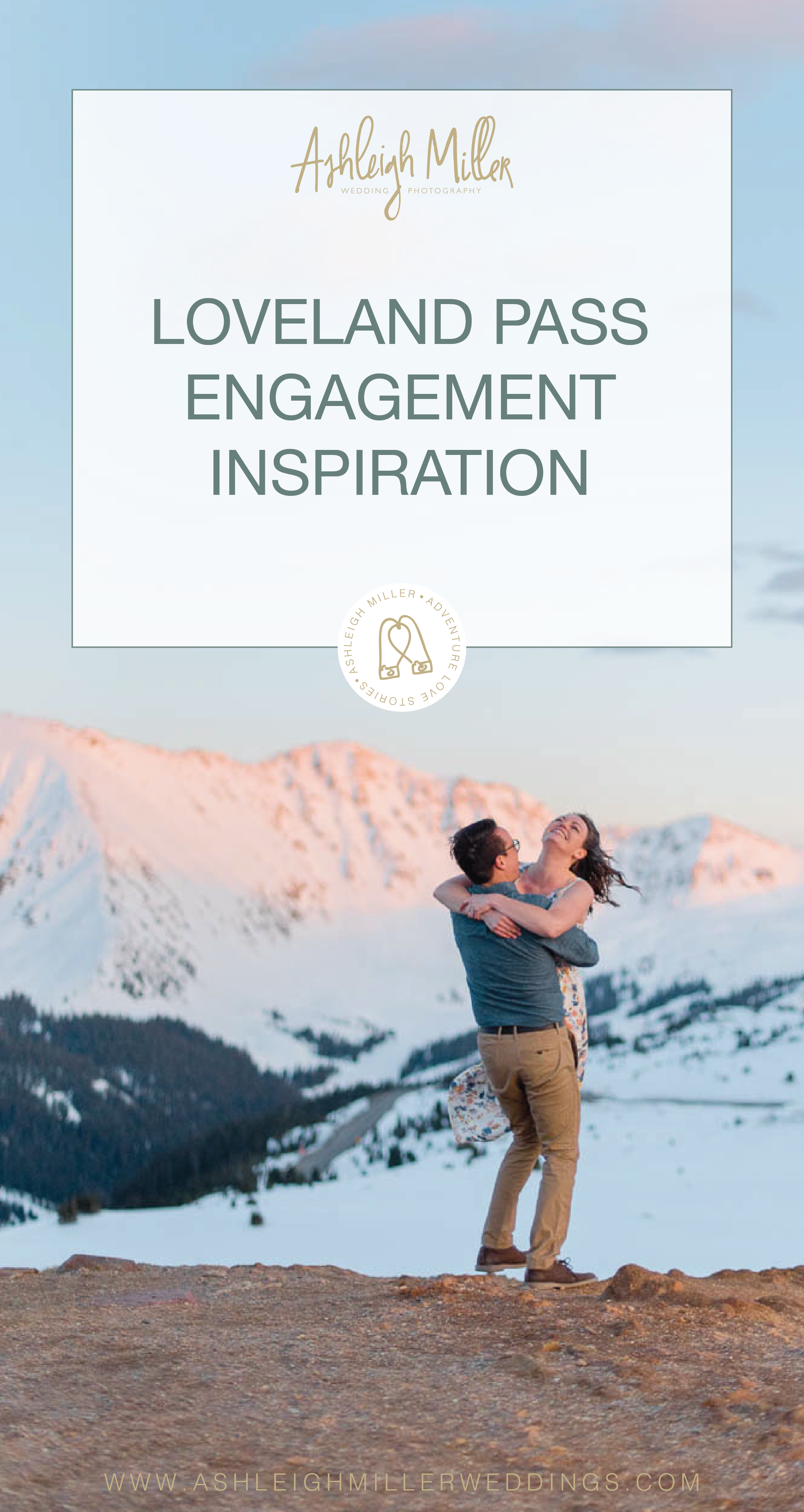 Colorado hiking adventure engagement sessions inspiration on a mountaintop. This Loveland Engagment Session was perfect with dresses, laughing, dancing, alpine glow, and love. Ashleigh Miller Wedding and Elopement Photographer serving Denver, Breckenridge, Summit, Dillion, Silverthorn, Telluride, Ouray and Boulder.