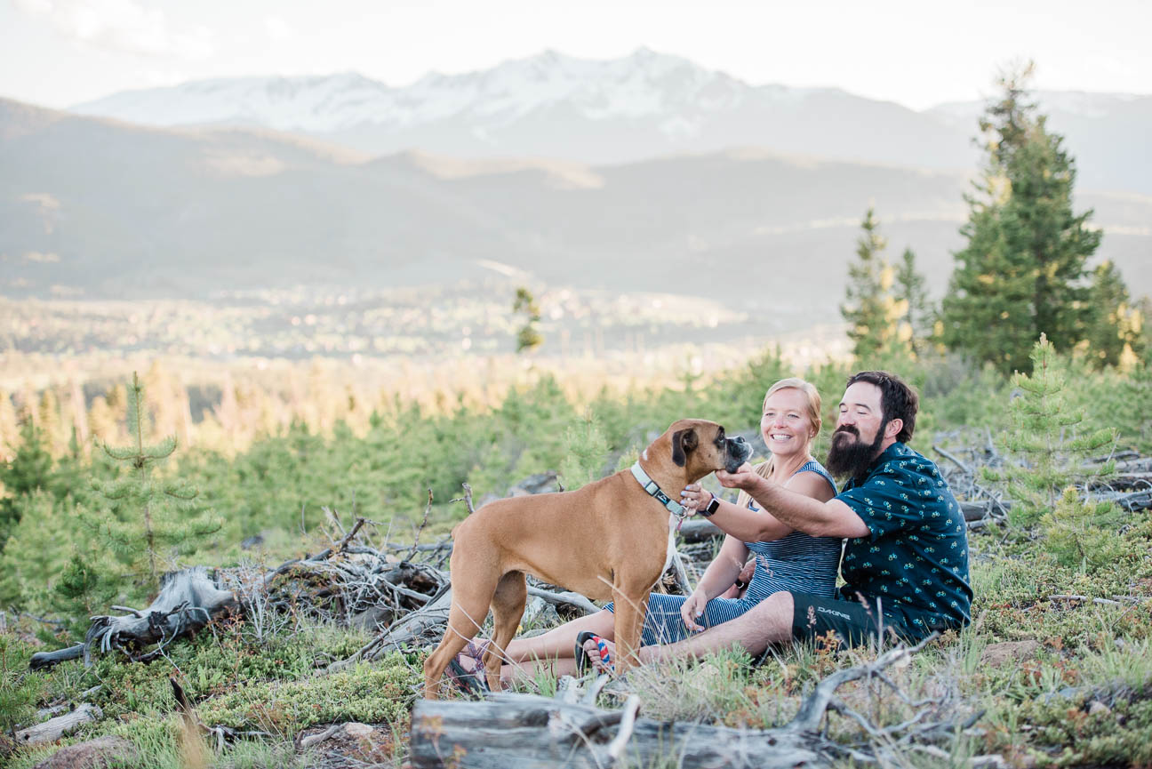 Keystone, Colorado Hiking Engagement Session with their dog, hiking, mountain views, aspens, sunsets, beer, snuggles and love. Ashleigh Miller Wedding and Elopement Photographer.