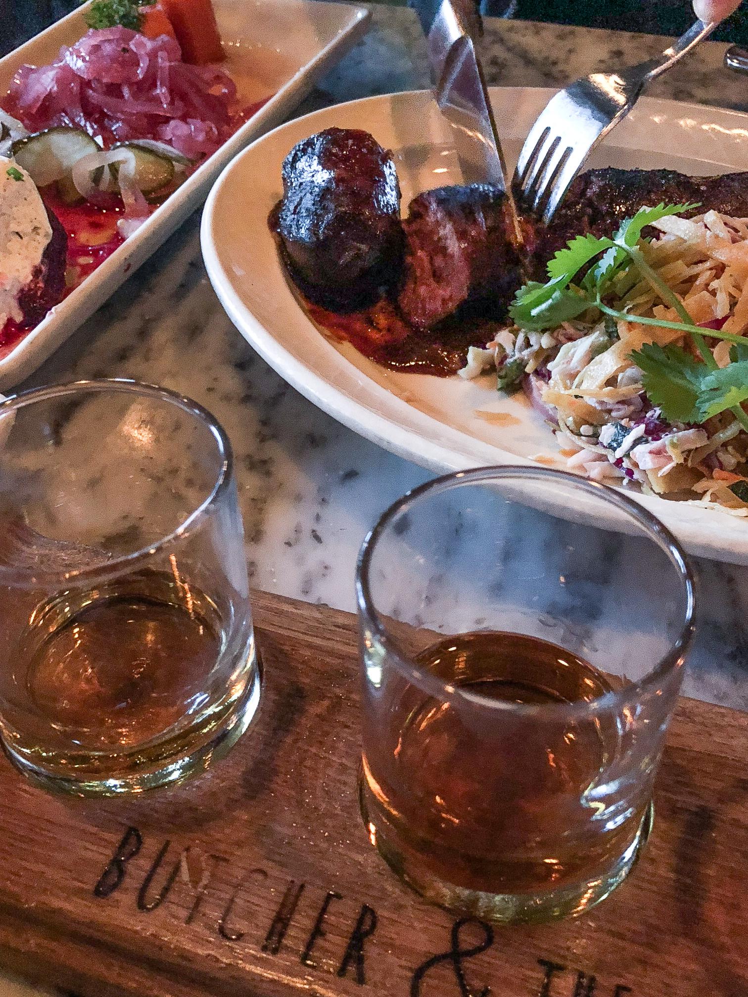 Bourbon flight and Texas Beef Link
