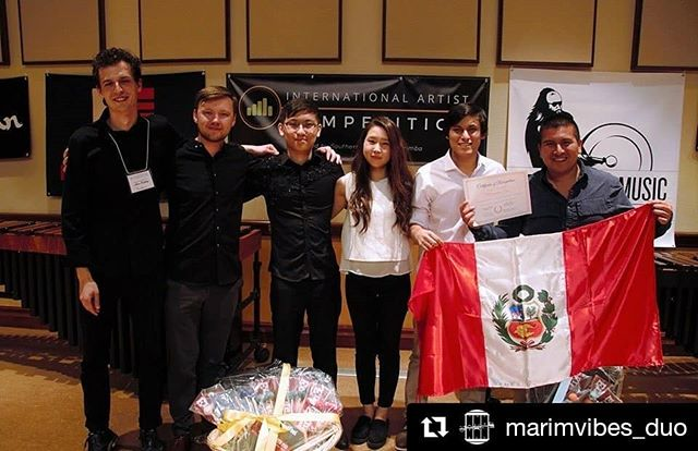 Had a great time at @scmarimba International Artist Competition this weekend. Congratulations to all of the participants! . . #Repost @marimvibes_duo (@get_repost) ・・・ MARIMVIBES Duo -🥈lugar!! Arriba Perú!! 🇵🇪💪🏻 2019 International Artist Competition  @scmarimba  #competition #newfriends #newprojects #peruvianintheworld #peruvianinusa #chambermusic #marimbavibraphone #percussionist #keyboardlife @mcm.percusionista @gustavoneyrachavez