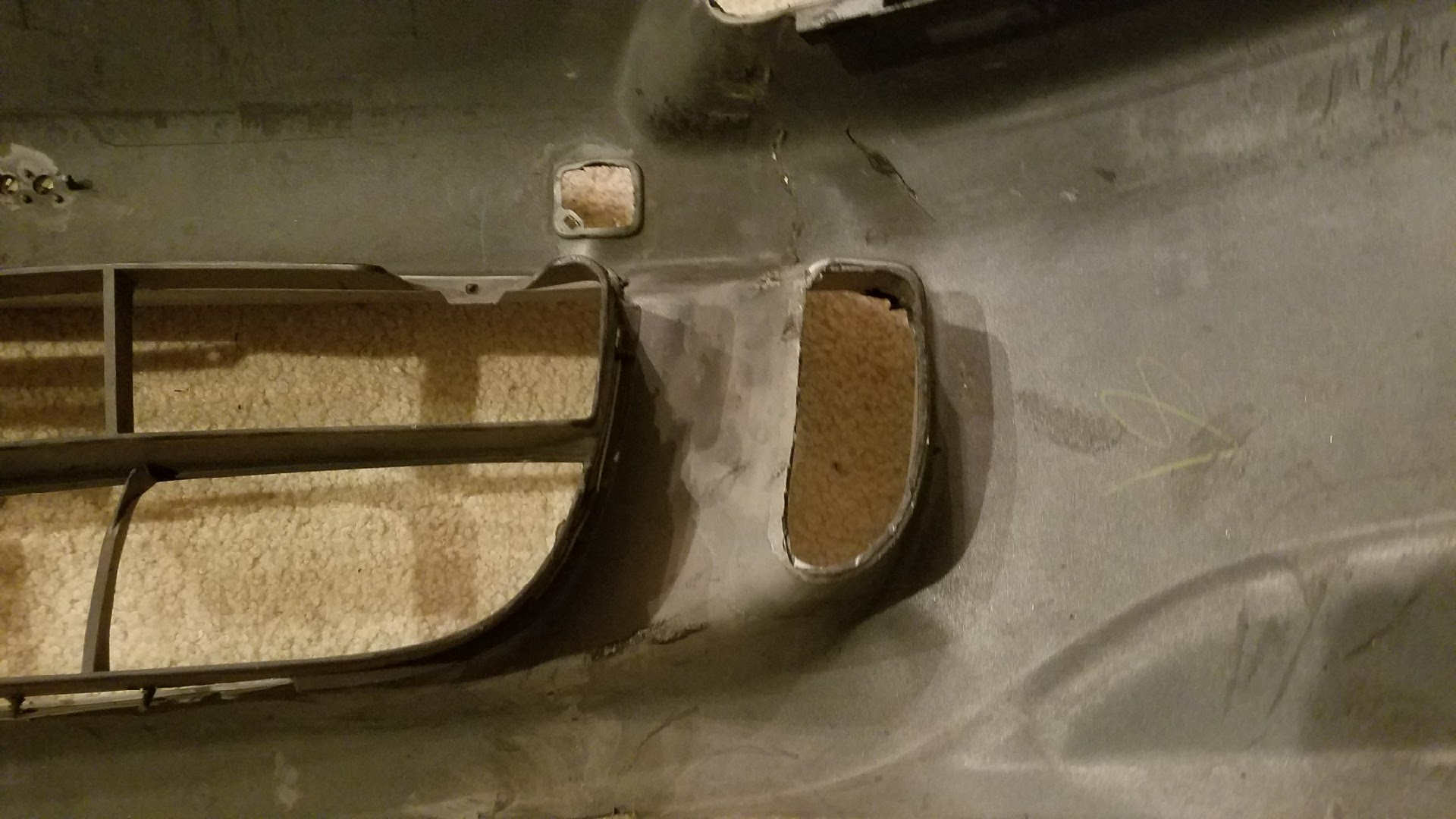 Another view of cut bumper