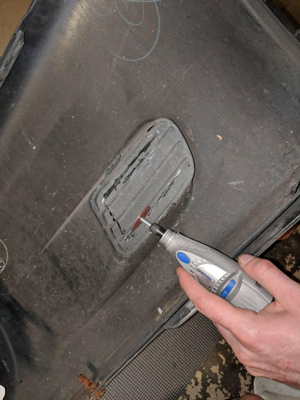 Cutting initial hole using a dremel