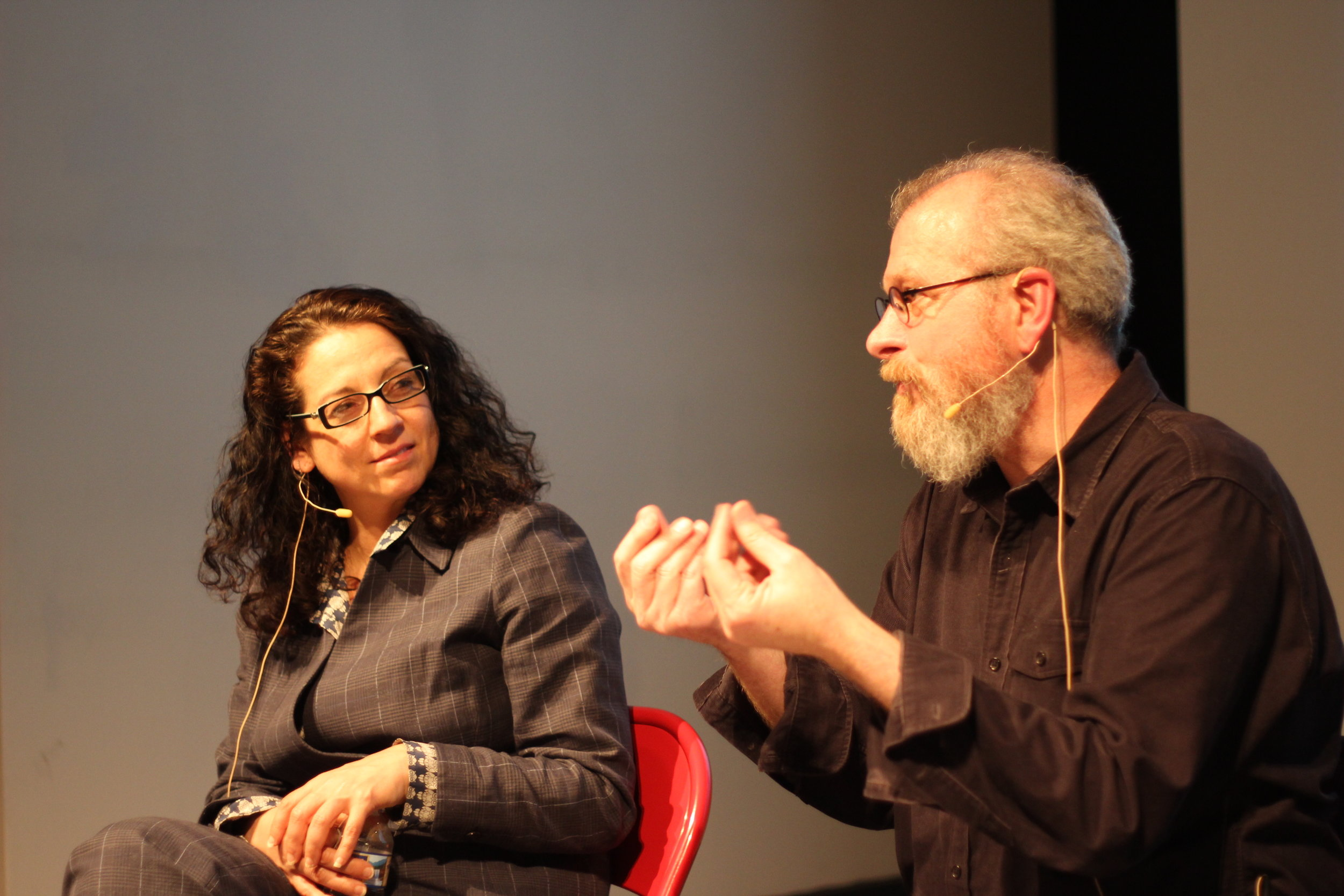 Kristen Ghodsee and João Biehl at the Slought Foundation on April 19, 2018