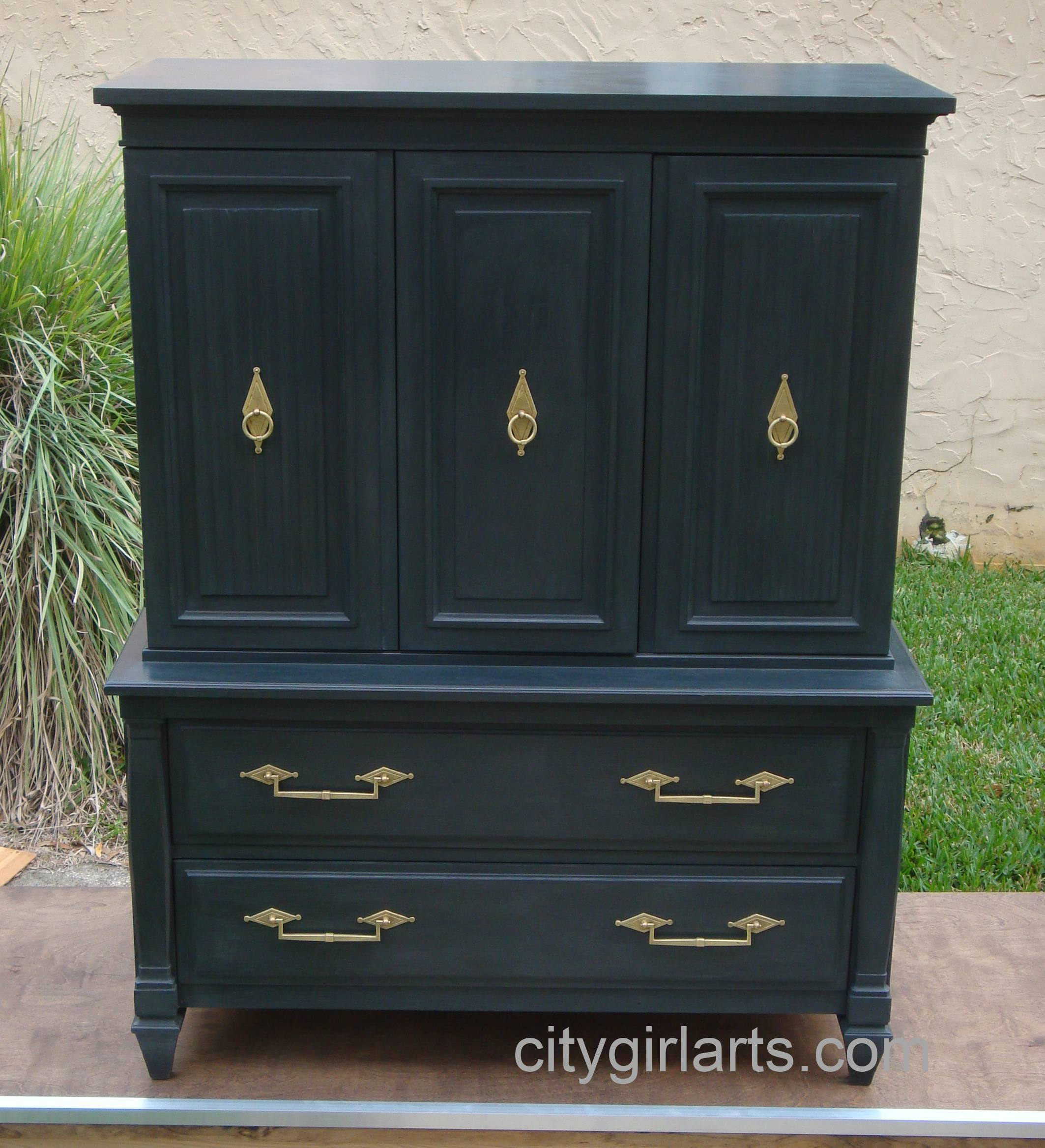 Midnight Diamond Tall Dresser Front