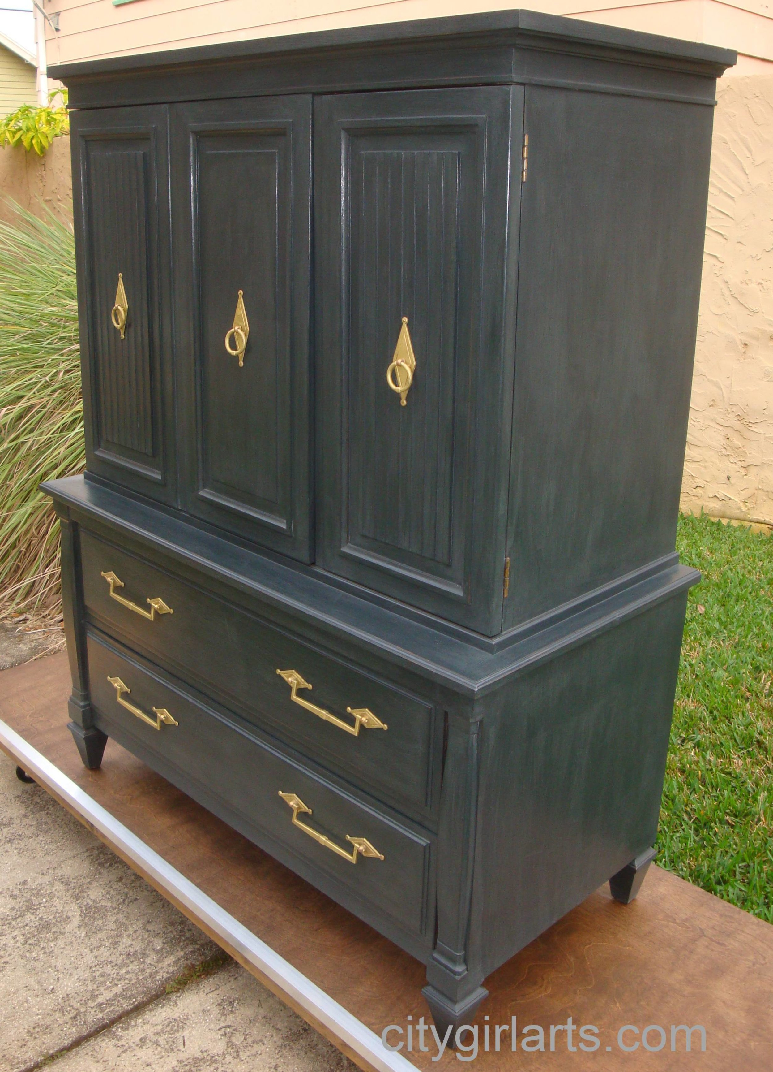 Midnight Diamond Tall Dresser Side