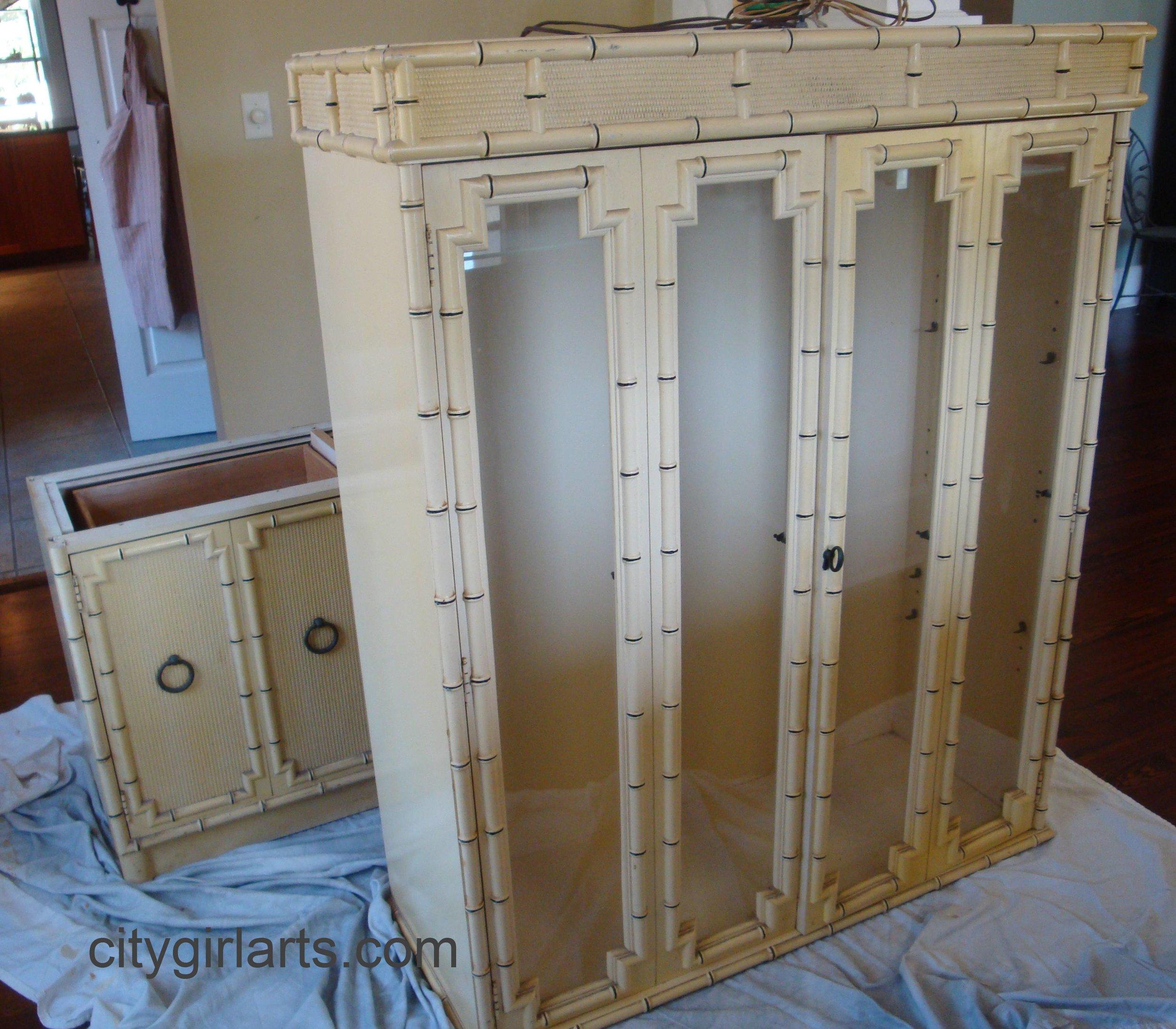 bamboo china cabinet before