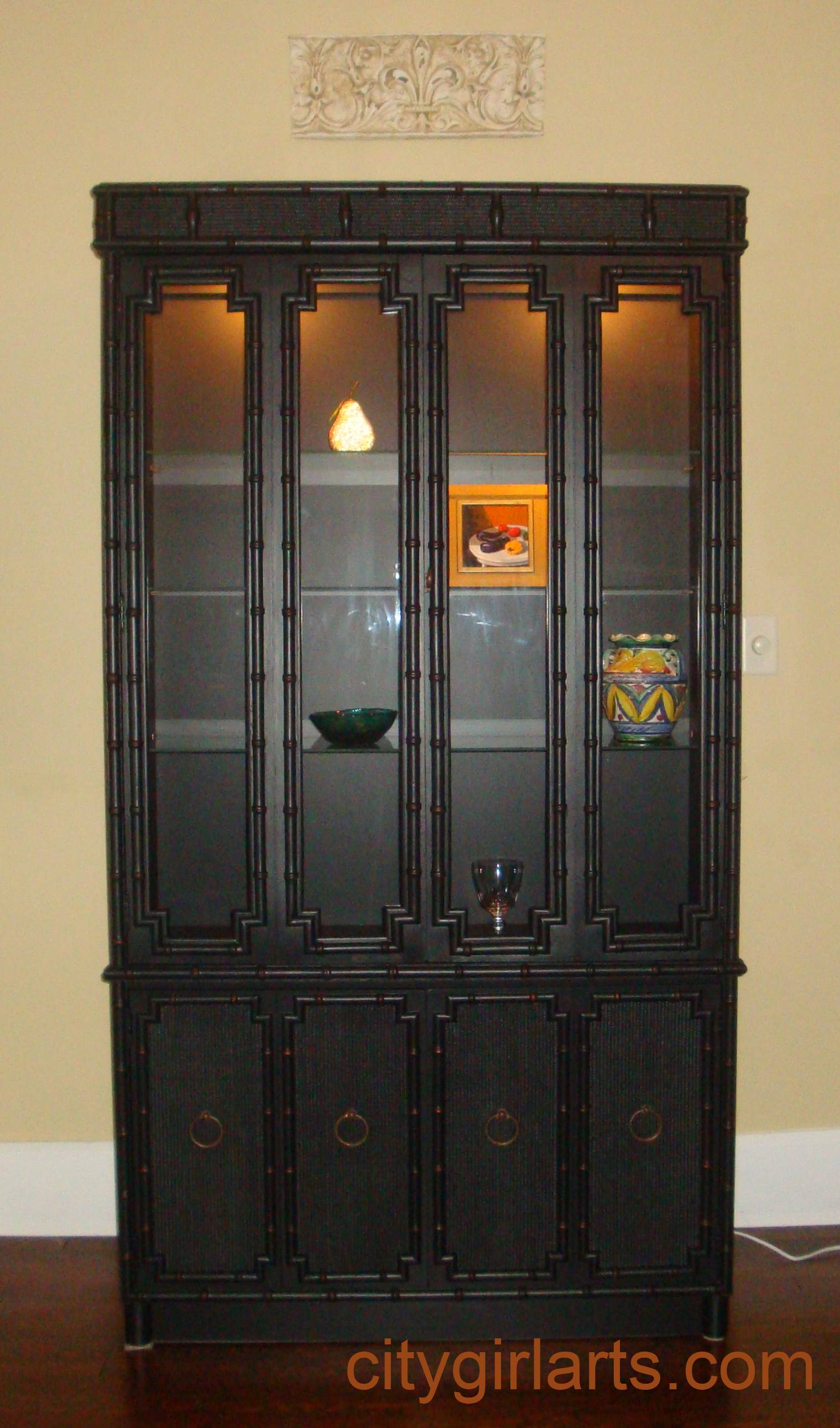 bamboo china cabinet front
