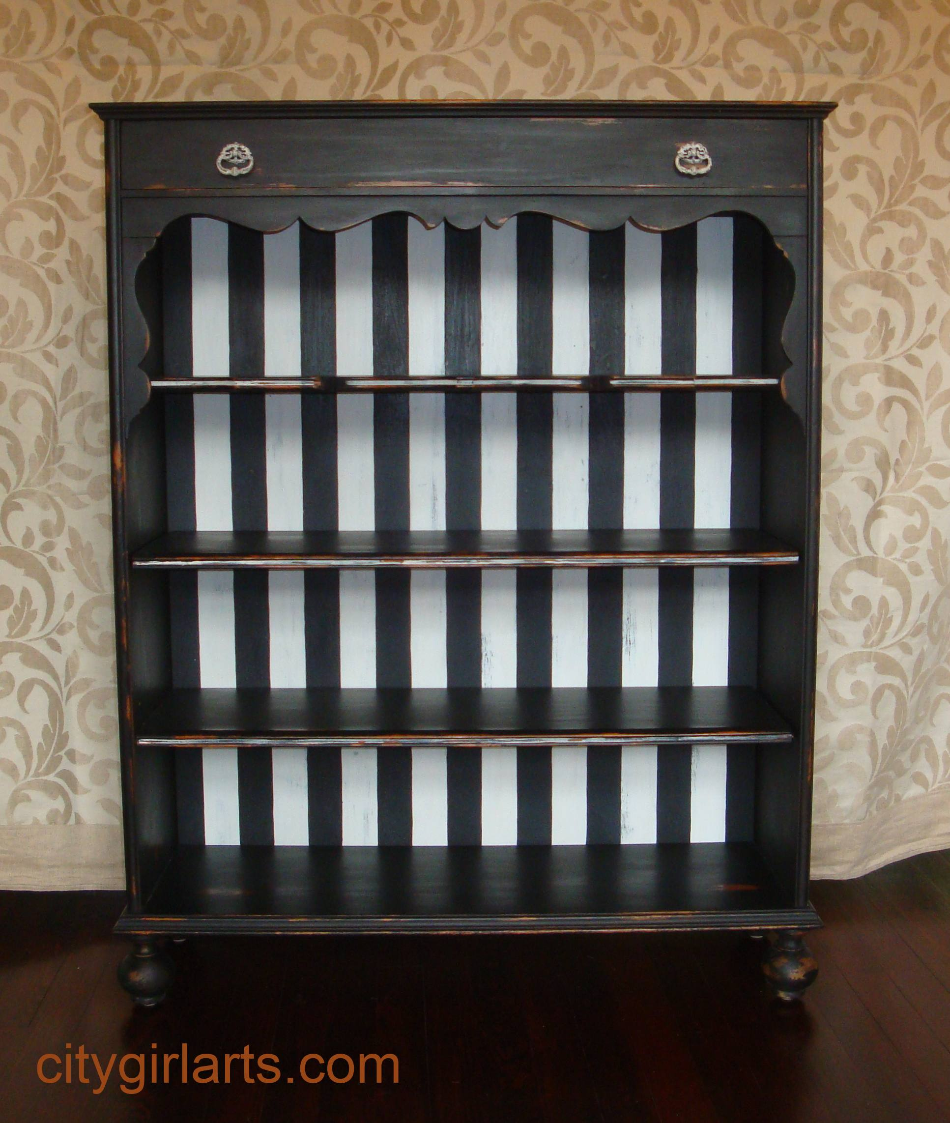 bun footed bookcase front