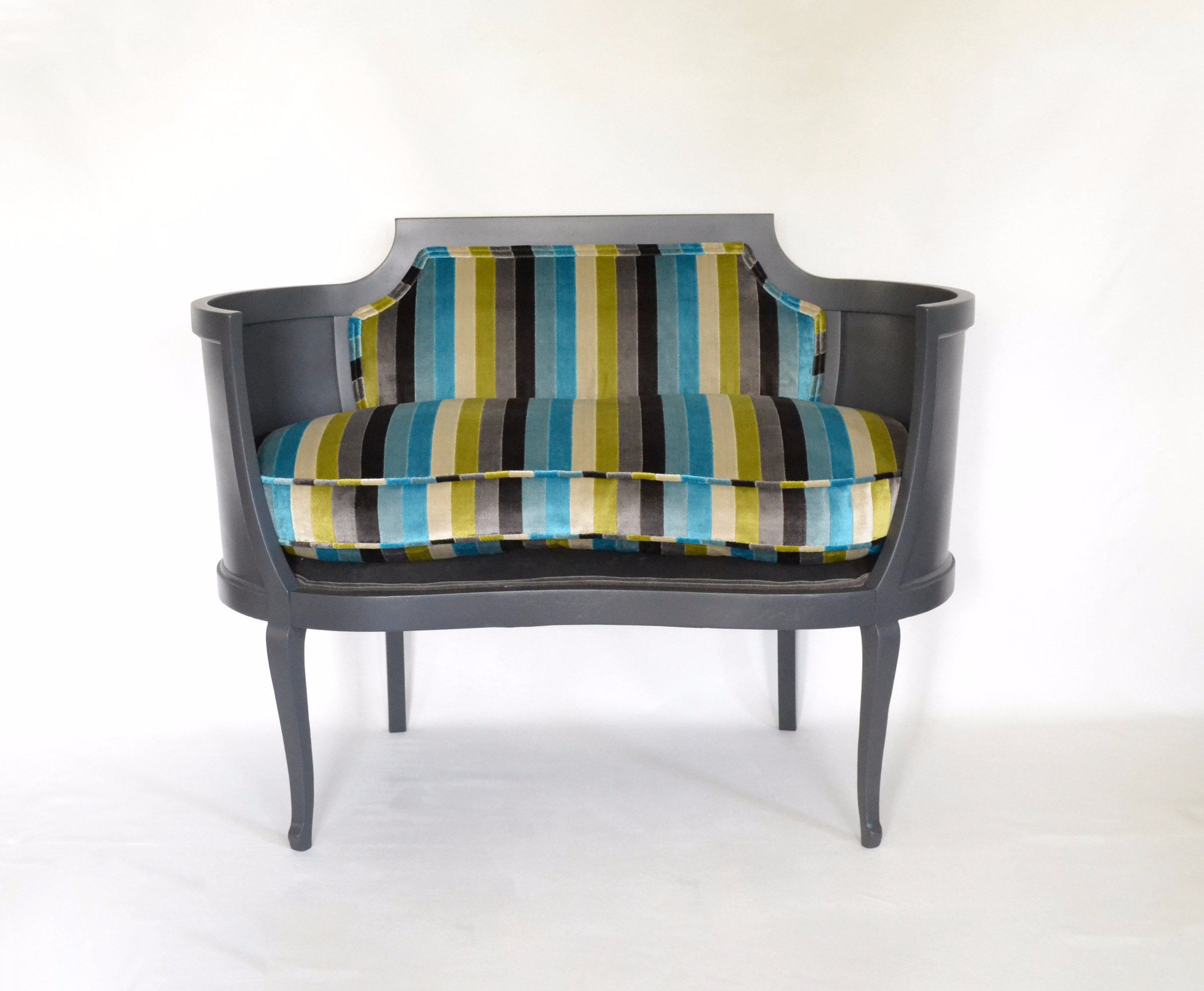 Kidney Bean Settee in Designer Velvets and Down-Wrapped Cushion