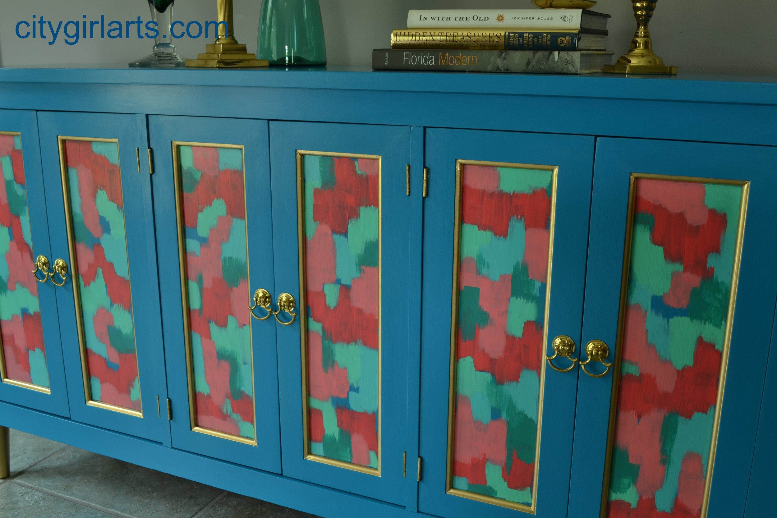 Deep Bright Blue Green Credenza Buffet Media Cabinet