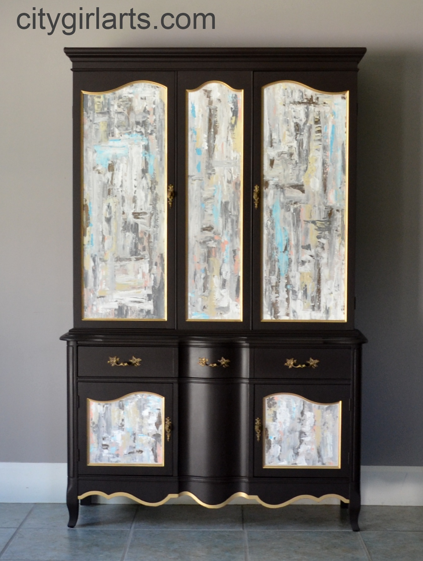 French Chocolate Cabinet with Abstract Painted Panels