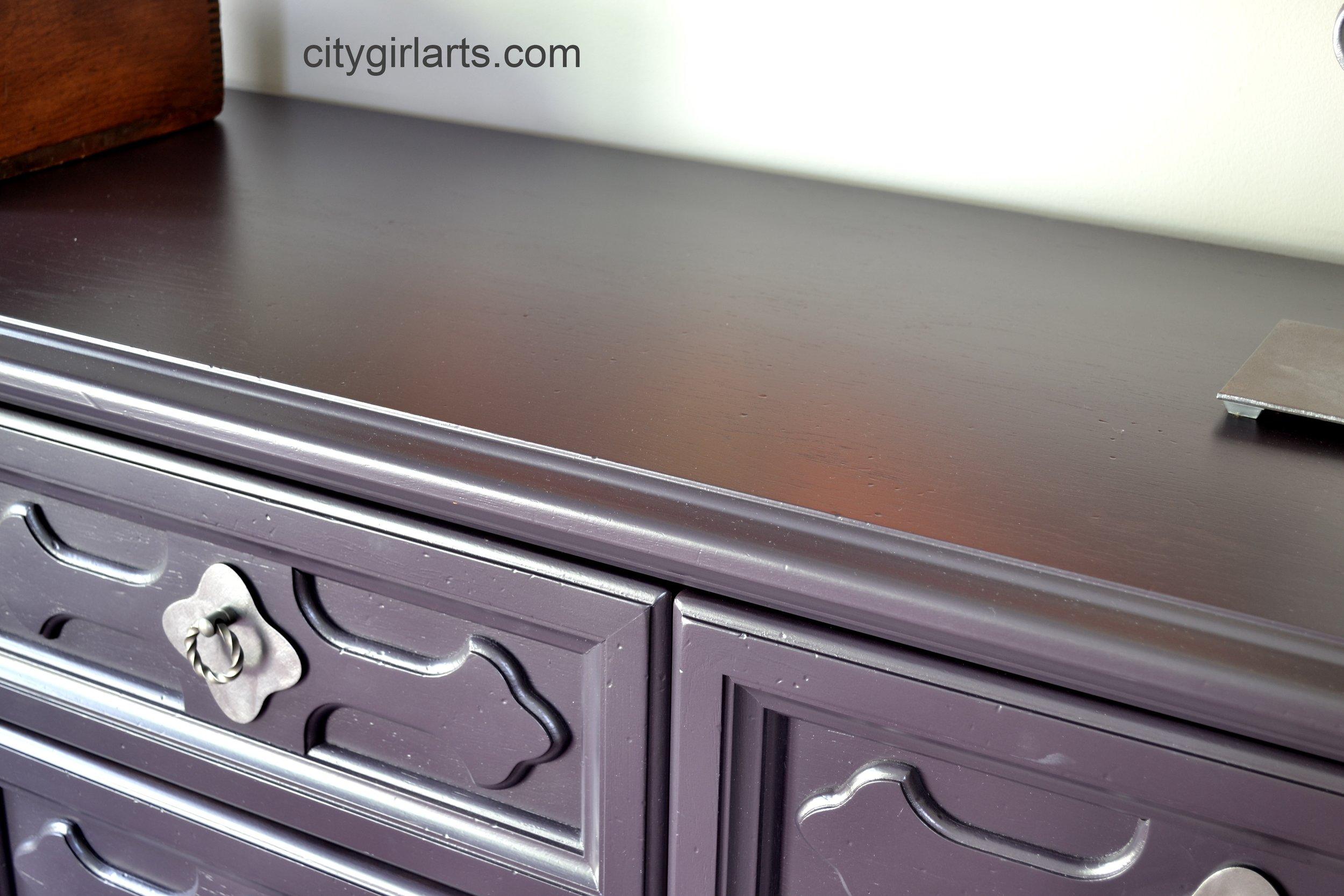 Vintage Henredon Gothic Eggplant Violet Purple Dresser Top
