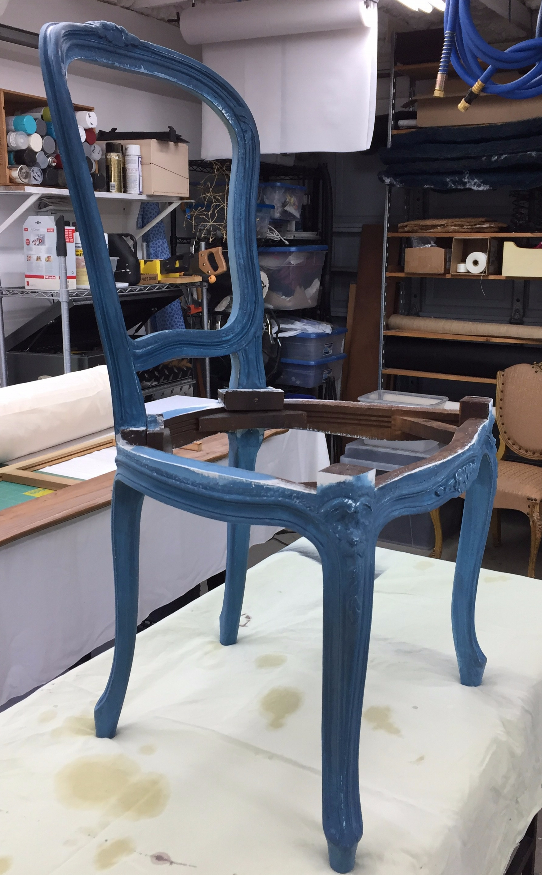 French Chair Stripped and Milk-Painted