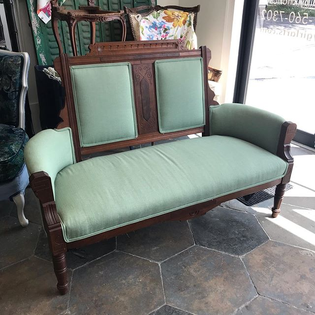 My clients found this terrific Eastlake settee at the Brocante Market today and brought it straight to me for a redo! @brocantemarket, we're gonna miss ya! . #eastlake #antique #traditionalupholstery #upholstery #vintagefurniture