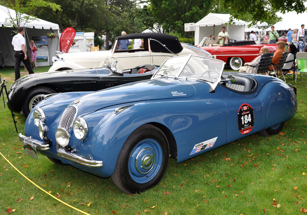 A pair of Terrific Jags we've had our hands on; Peter and Nic Kalikow's early alloy body XK120 fresh from the Mille Miglia in the foreground with Drake Darrin's C Type just behind.