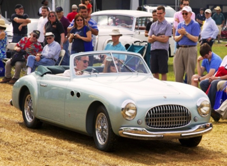 Damp drive means non-stop award drive by for Andy and Elizabeth's Cisitalia small tires! GDM photo