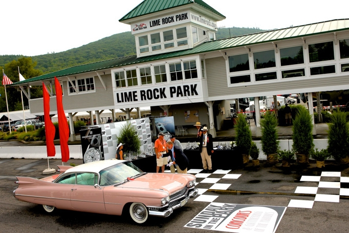 The Greenberg's perfect pink 59 Cadillac comes up to take our Damsel's Delight trophy.