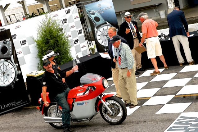 Our pal Nigel Griffin rides Bobby Machinist's amazing MV Augusta America 750 up for its Less is More class award