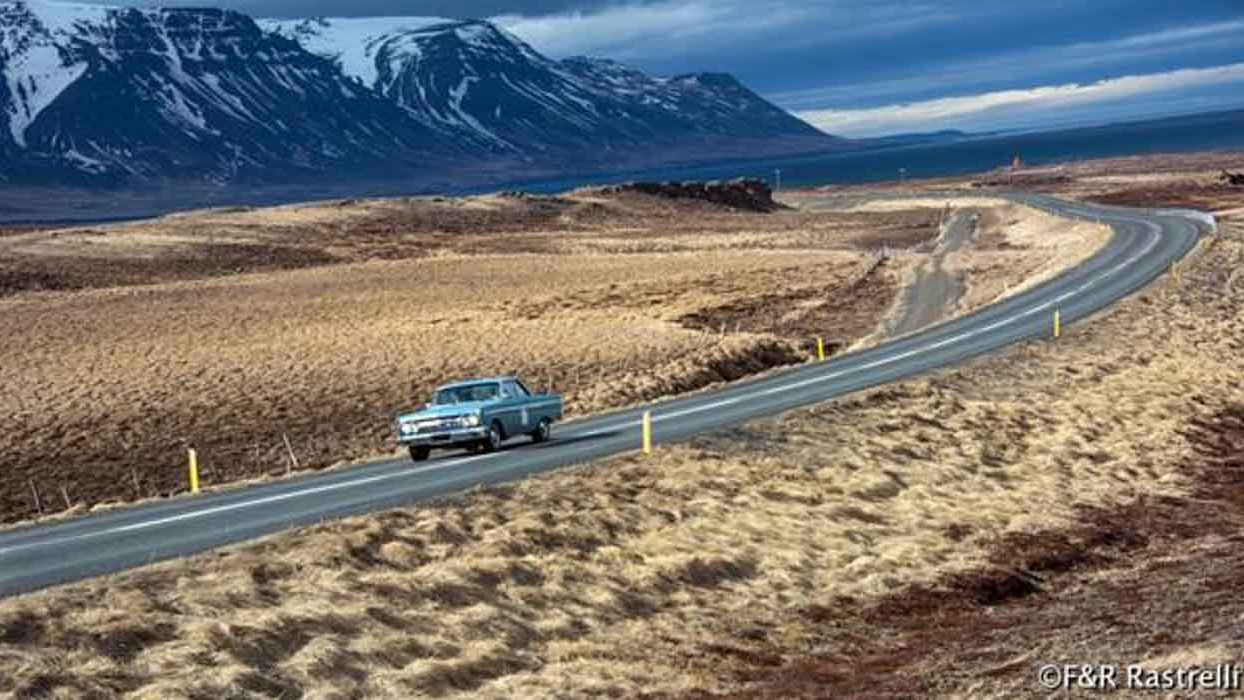 On the road: Our Comet cranks through BIG Icelandic scenery