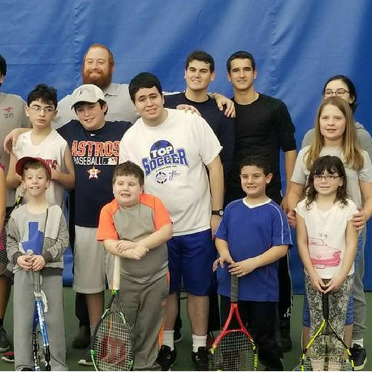 Tennis Camp - Tennis camp is a drop off program for children with disabilities. It is held monthly from September through May at the indoor JCC tennis courts and has become a very popular program.
