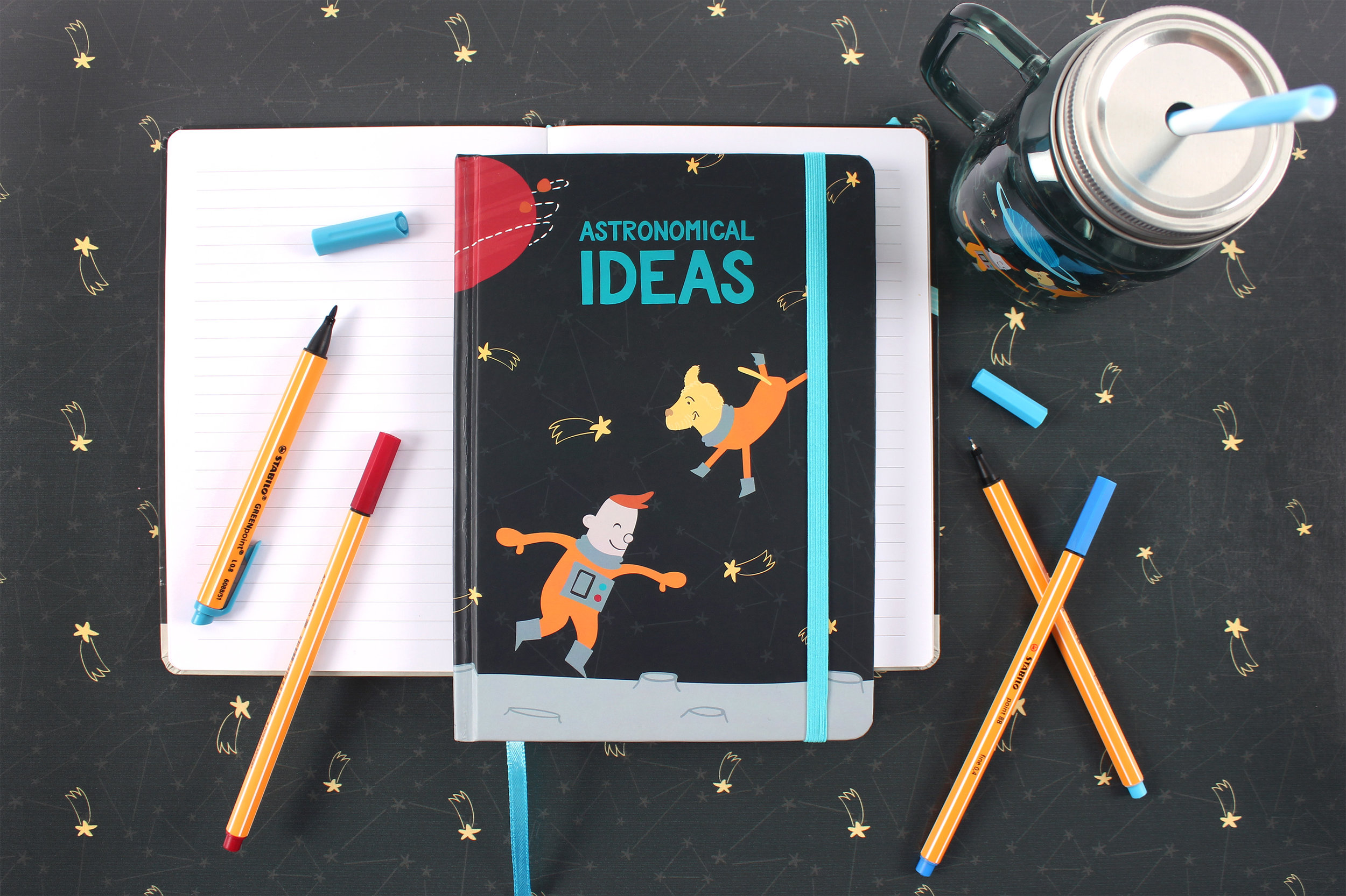 Space adventure notebook and drinking jar