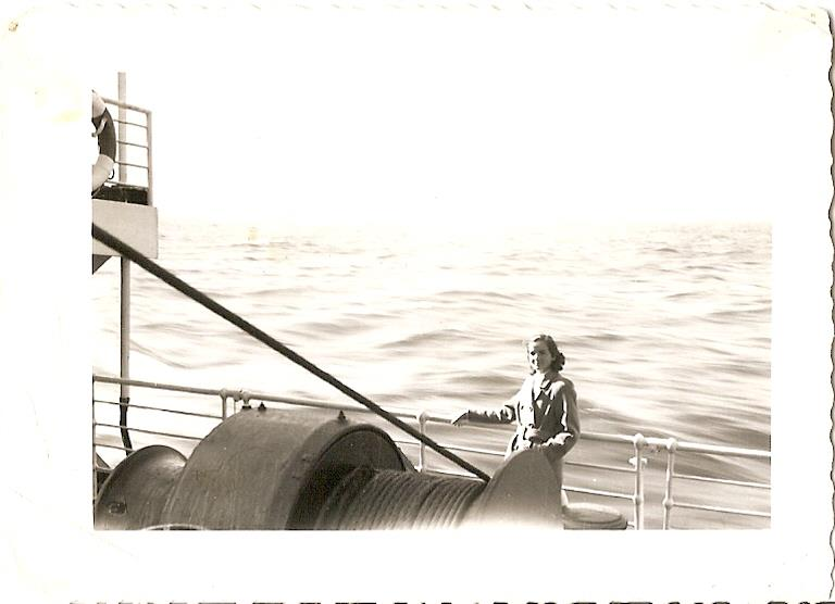My Grandma Tutschek on the boat coming to Canada after the war