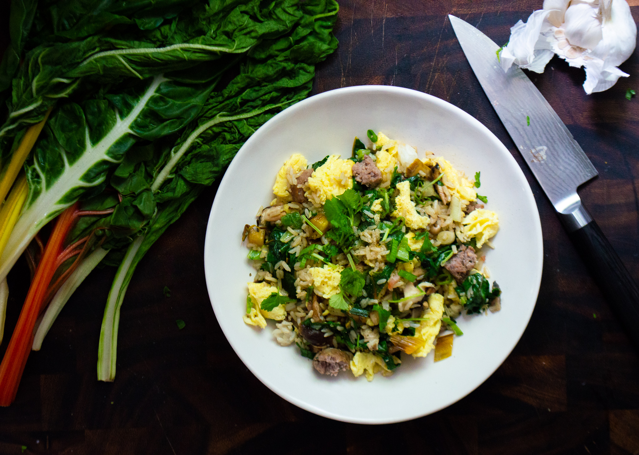 endlessly customizable fried rice with chard and sausage.jpg