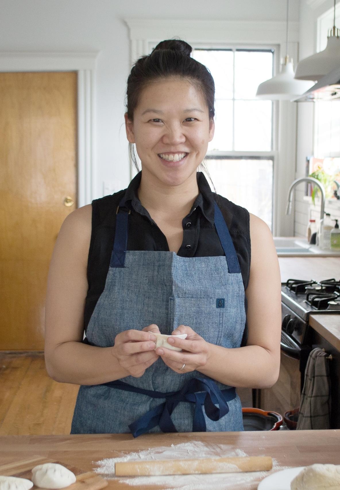 Mei making dumplings