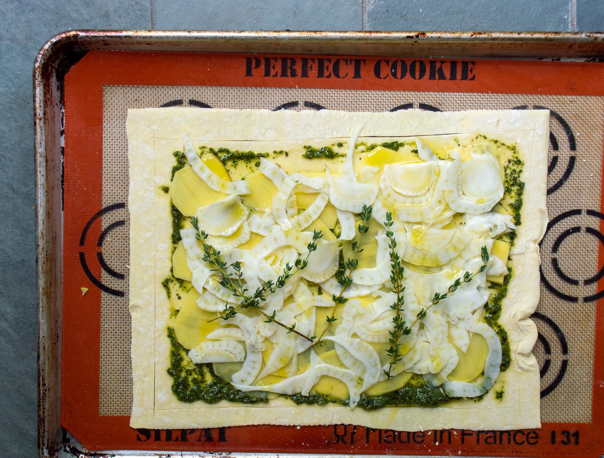 savory puff pastry tart