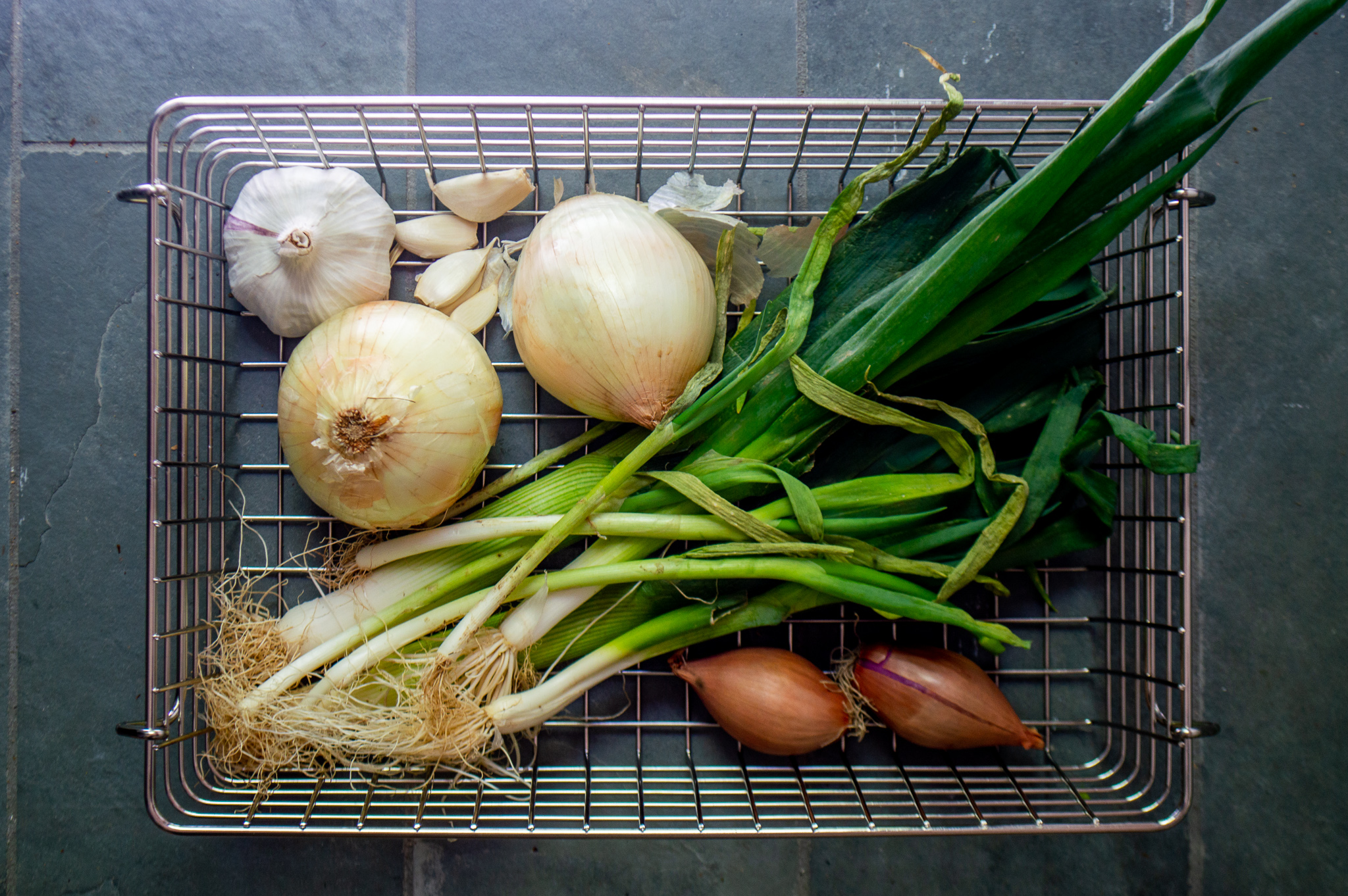 alliums including onion, garlic, scallions, leeks and shallots