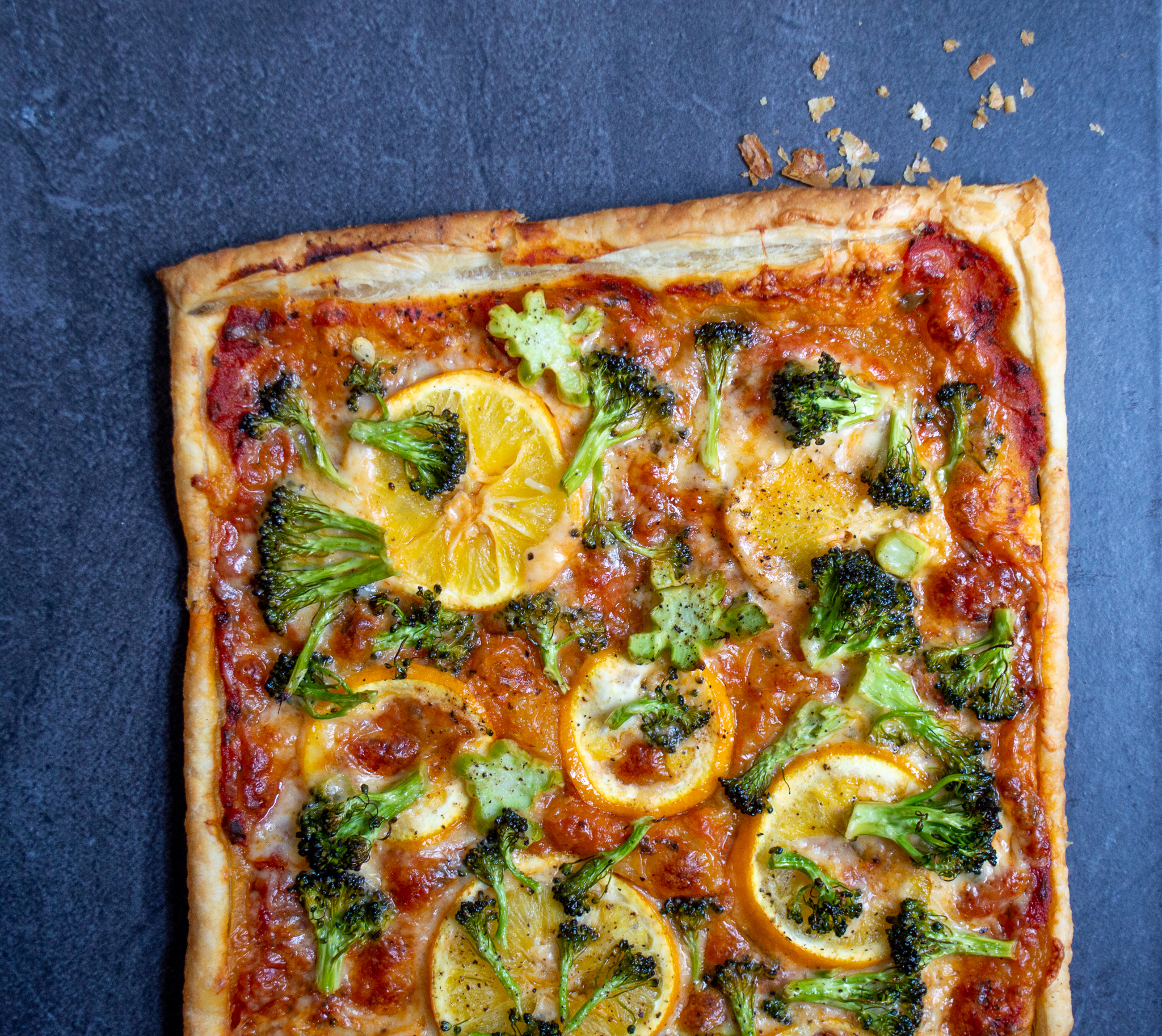 Savory Tart with Sliced Meyer Lemons and Broccoli