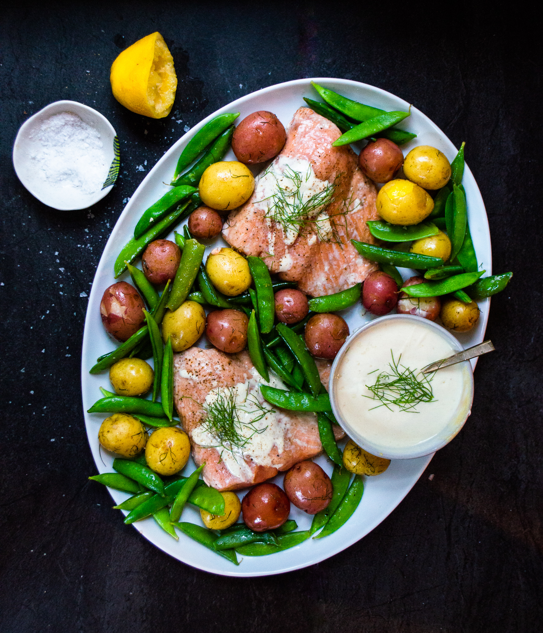 salmon with potatoes and snap peas