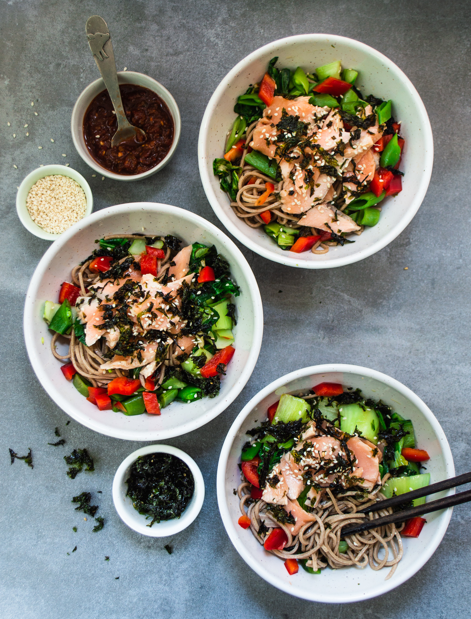 soba noodles with salmon bok choy snap peas