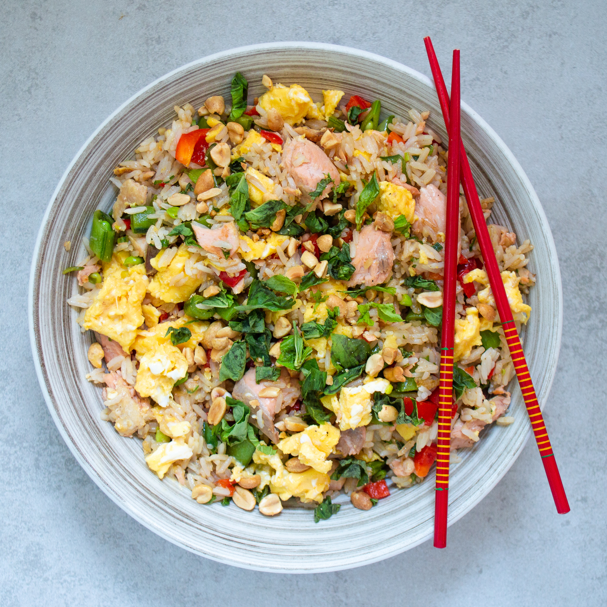 salmon fried rice with bok choy and peppers