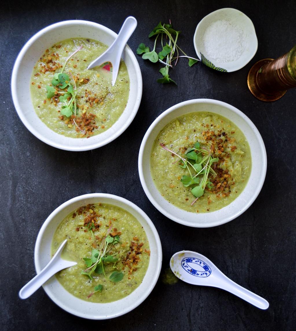 kohlrabi leek potato squash soup