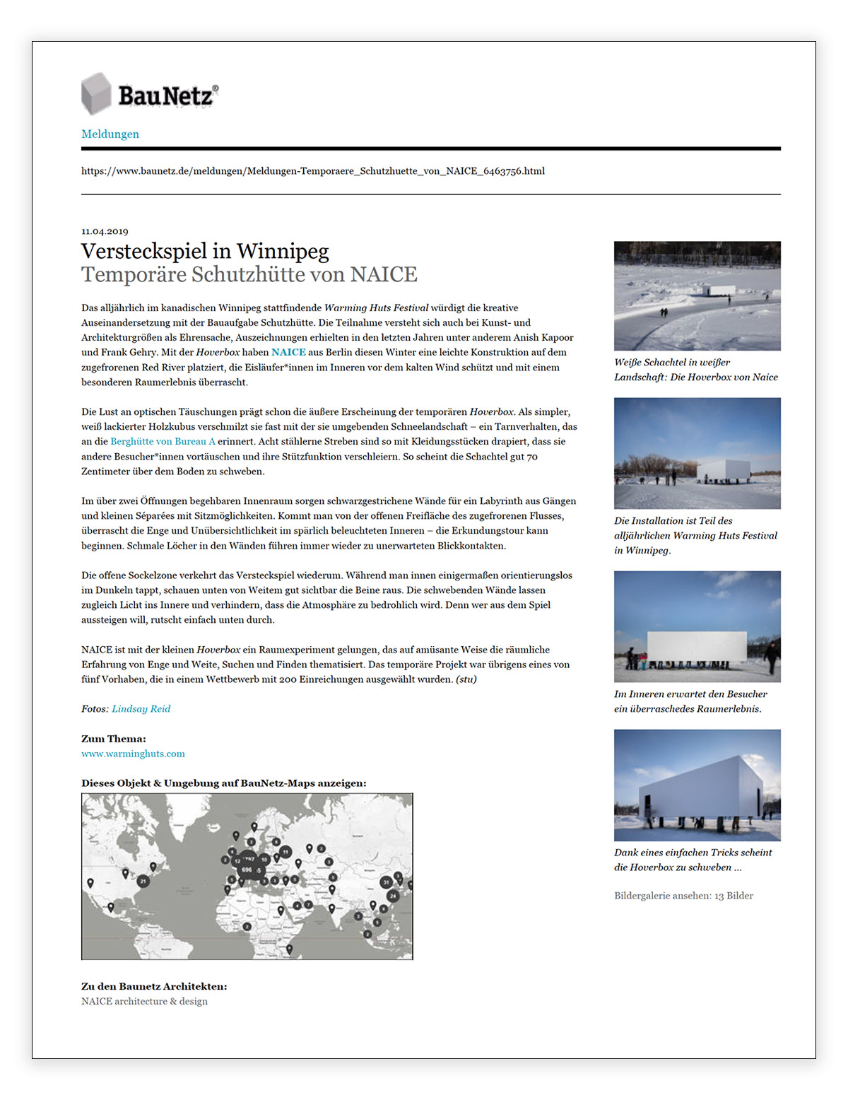Screenshot of the article on BauNetz.de
