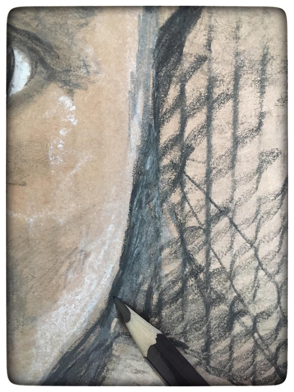 Close up of portrait in progress