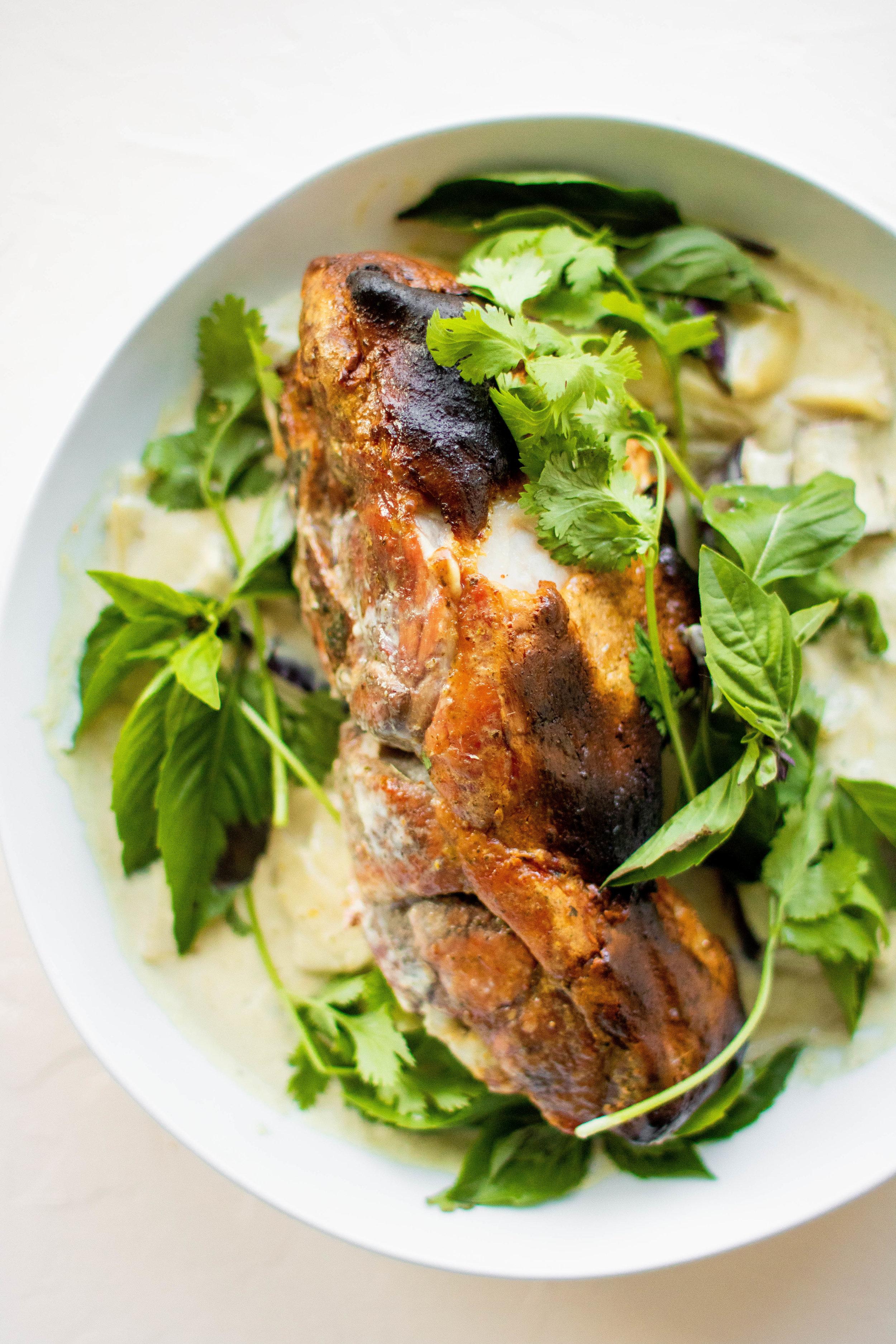 crispy thai pork with green curry sauce