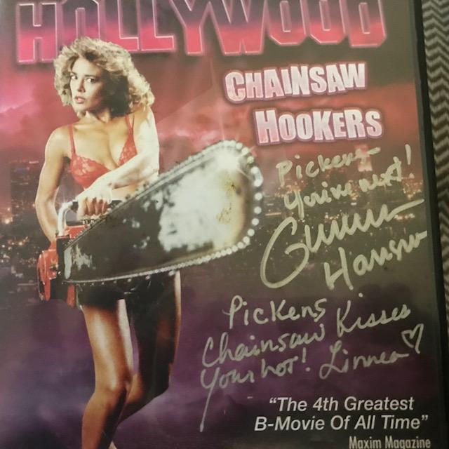 Pickens has an autographed copy, of course. Check those Gunnar Hansen and Linnea Quigley Hancocks!