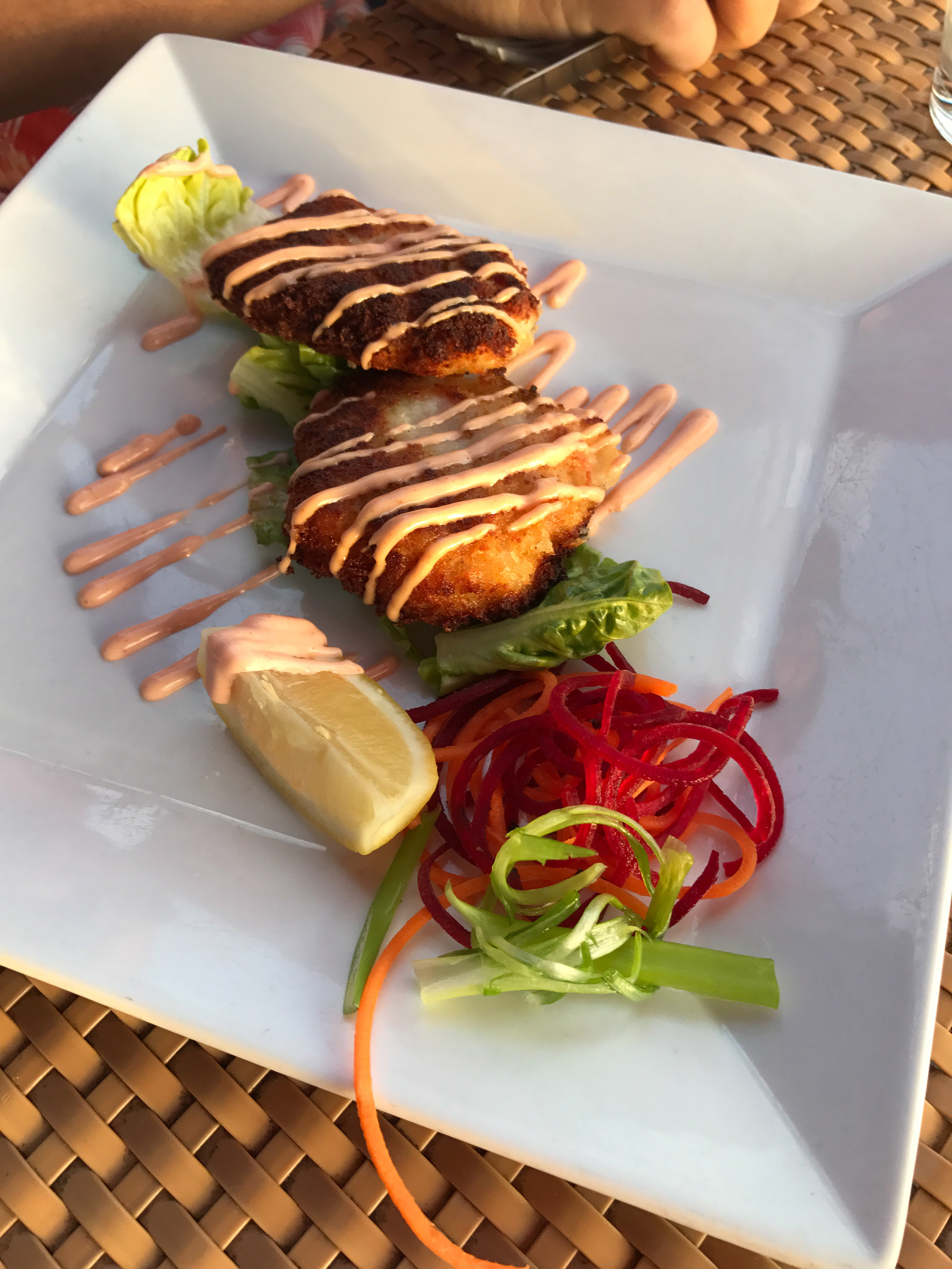 If you love seafood everyone on the island has amazing dishes -These are lobster cakes!