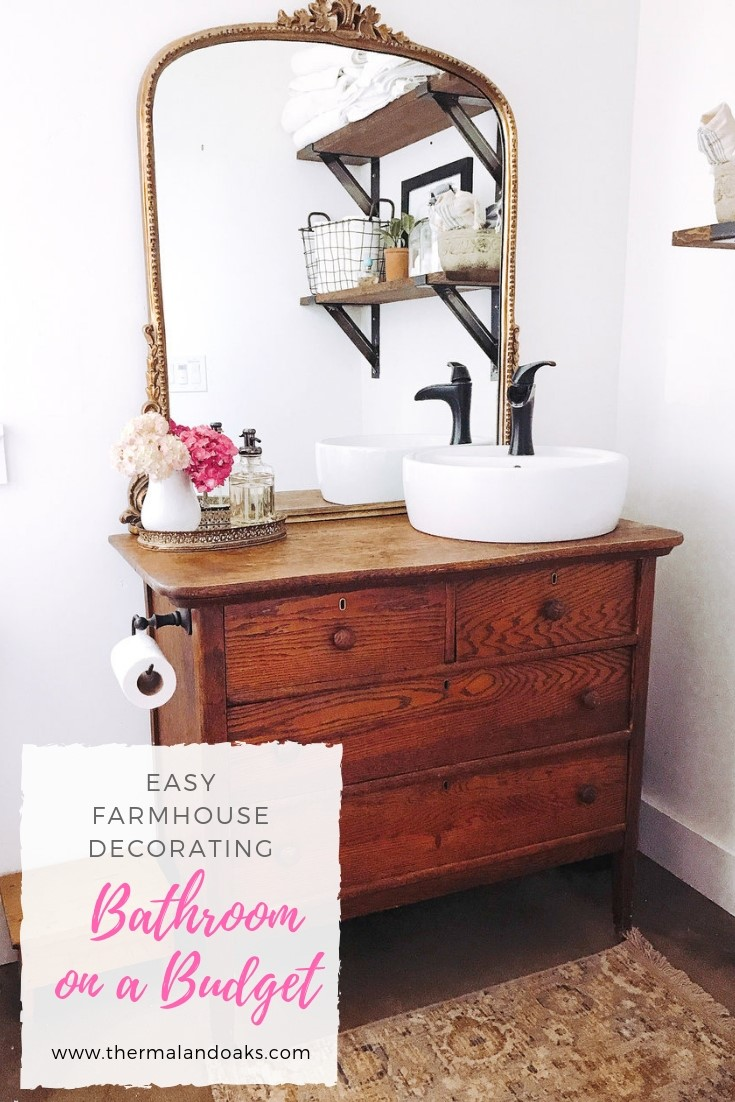 How To Decorate on a Farmhouse Bathroom on a Budget #farmhousebathroom, #bathroom, #bathroomonabudget, #bathroomremodel, #bathroomideas, #bathroomdesign, #whitefarmhouse, #farmhousesink, #farmhousebathroomdecor