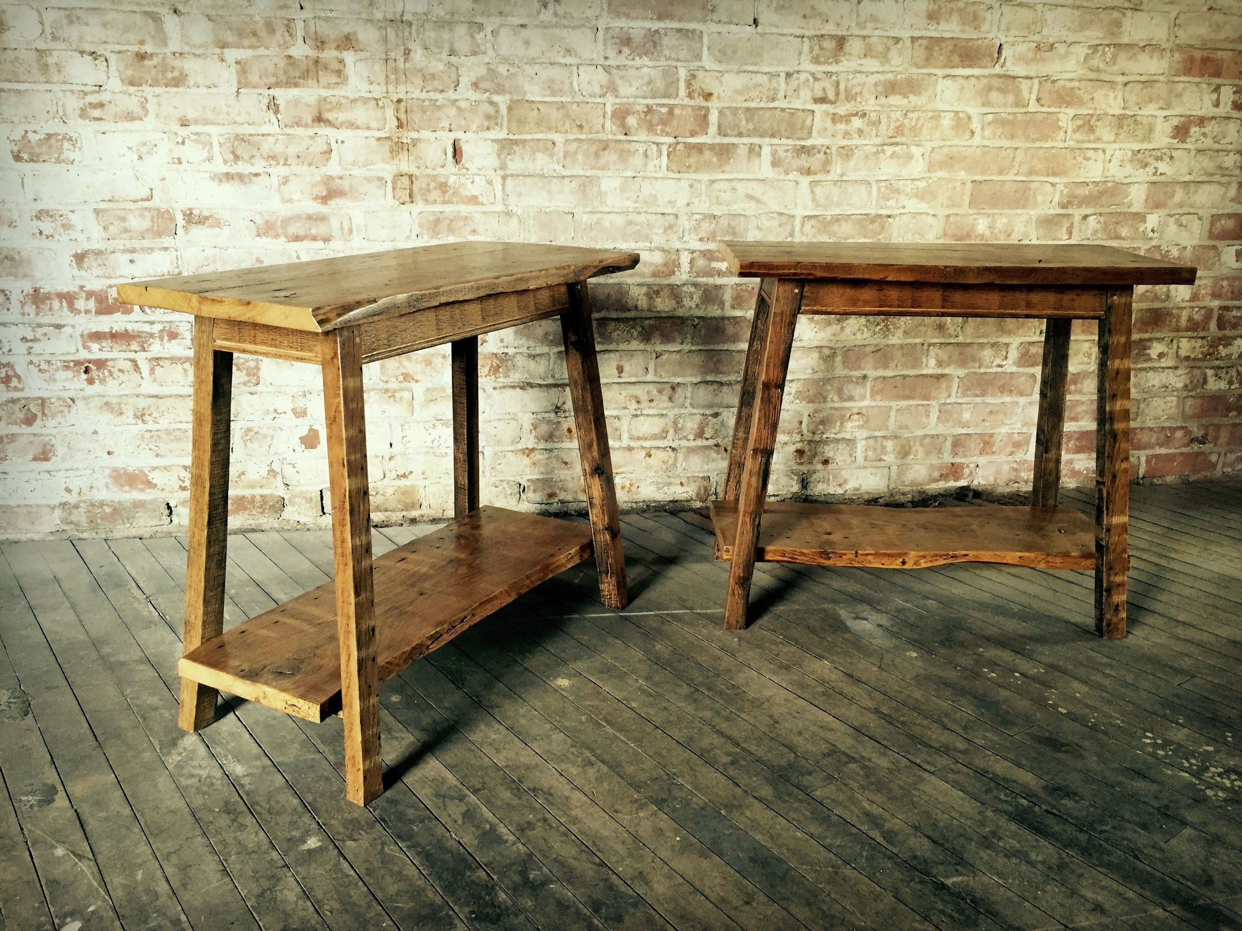 Reclaimed oak end tables