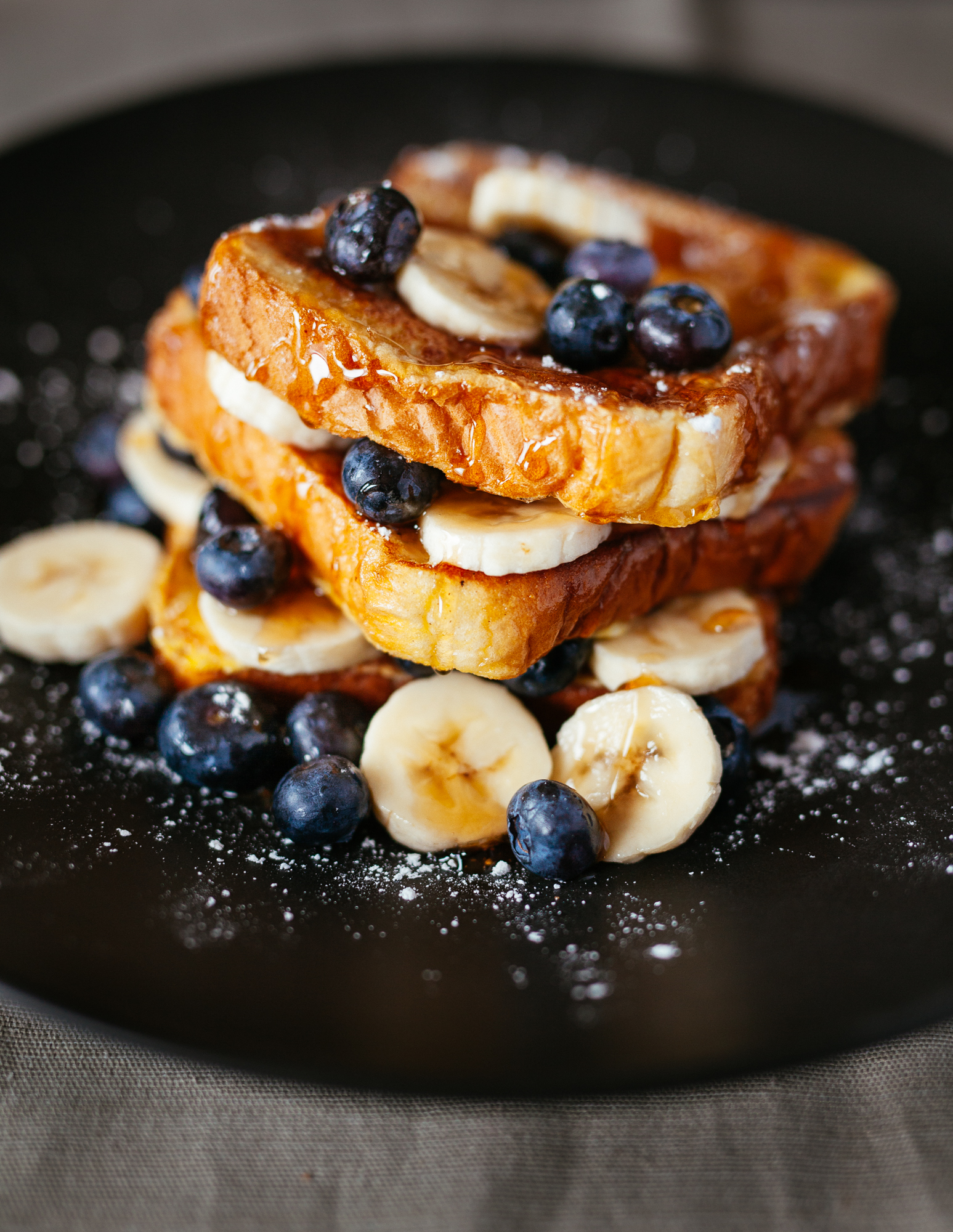French Toast with Blueberries, Bananas, Vermont Maple Syrup